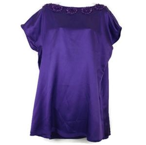 Alice Olivia Solid Purple Blouse Sz XS Sequin Top